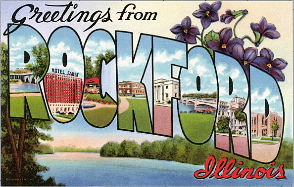 Greeting Card from Rockford, Illinois. ca. 1941, Rockford, Illinois, USA, Rockford, founded in 1834, is the third largest city in the state of Illinois. Population more than 85,000. Noted for its machine tool and furniture industries. Just a few miles sou